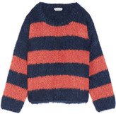 Chloé Oversized Striped Mohair, Wool And Cashmere-blend Sweater - Red