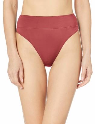 RVCA Womens Solid HIGH Rise Cheeky Bikini Bottom