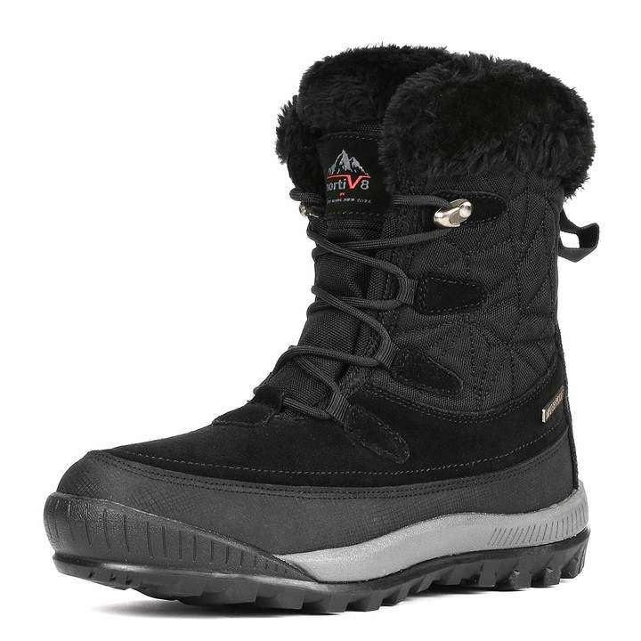 cd20387e8075e NORTIV 8 Women's A0052 Black Insulated Waterproof Construction Hiking  Winter Snow Boots