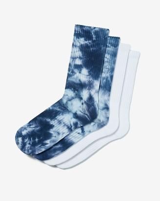 Express 2 Pack Mid-Calf Blue Tie Dye Socks