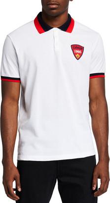 DSQUARED2 Men's Tipped Polo Shirt w/ Logo Patch