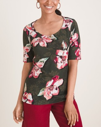 Chico's Beaded Floral Tee
