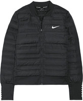 Nike Aeroloft Perforated Quilted Dri-fit Shell And Stretch-jersey Down Jacket - Black