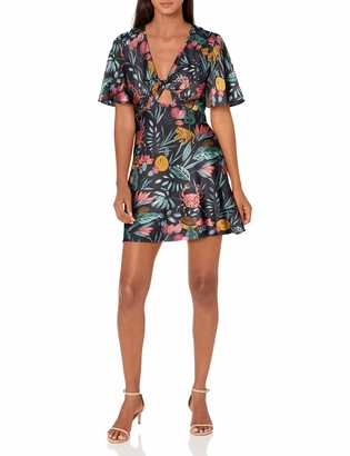 Finders Keepers findersKEEPERS Women's Short Sleeve V-Neck Sally Cut-Out Mini Dress