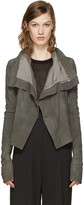 Rick Owens Grey Classic Leather Biker Jacket