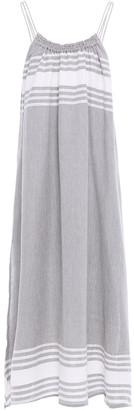 SUNDRESS Elenora Gathered Striped Cotton And Lurex-blend Midi Dress