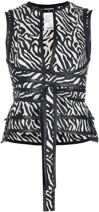 DSQUARED2 zebra print wrap top