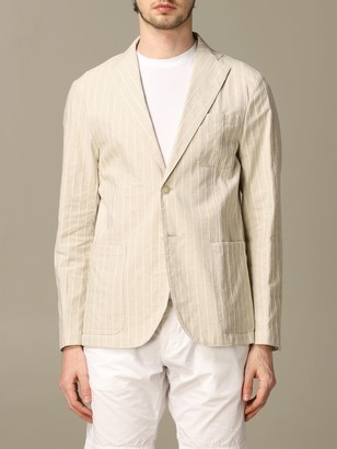 Havana & Co. Havana Co. Striped Cotton And Linen Jacket