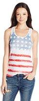 Freeze Juniors American Flag Printed Crochet Back Tank