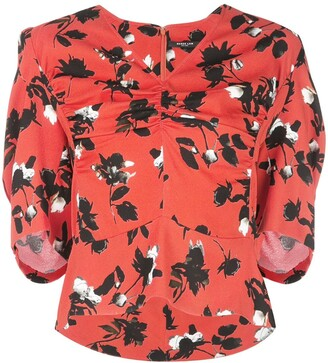 Derek Lam Floating Floral Short Sleeve Blouse with Ruched Detail