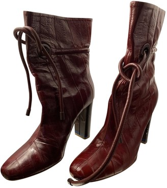 Malone Souliers Burgundy Leather Ankle boots
