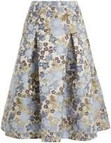 Erdem Aaliyah floral-jacqaurd midi skirt