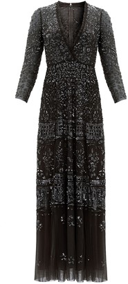 Needle & Thread Aurora black embellished tulle gown