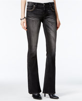 Miss Me Embroidered Black Wash Flare-Leg Jeans