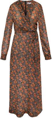 Gerard Darel Long Printed Dena Dress With Surplice Neckline