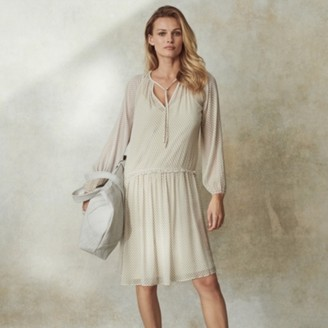 The White Company Printed Dropped-Waist Dress , Stone, 8