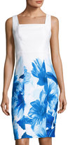 Donna Ricco Square-Neck Floral-Print Sheath Dress, Blue/White