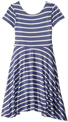 fiveloaves twofish French Terry Capri Skater Dress (Big Kids) (Blue Stripe) Girl's Clothing