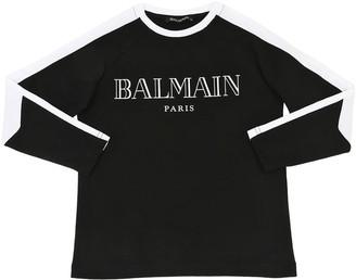 Balmain Logo Printed Jersey Long Sleeve T-shirt