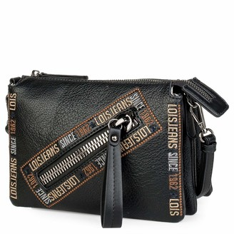 Lois Shoulderbag with Extra Handle. Woman. Zipper Closing. Triple Compartment. Printed linner. Outside and Inside Pockets. Embroidered Design. Synthetic Leather. 304715 Color Black