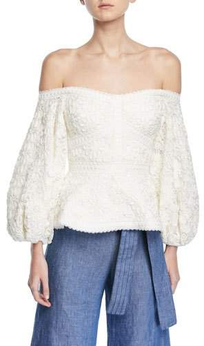 Alexis Joscelin Embroidered Puff-Sleeve Top