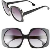 Alice + Olivia Women's Canton 55Mm Special Fit Square Sunglasses - Black