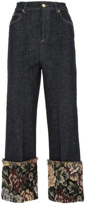 L'Autre Chose Tapestry Detail Wide-Leg Jeans