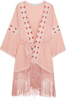 Melissa Odabash Kara Fringed Embroidered Voile Kaftan - Antique rose