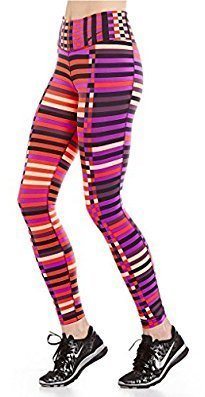 Nike Womens Striped Seamed Athletic Leggings Pink S