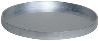 BIDKhome Large Silver Leaf Lacquer Round Serving Tray