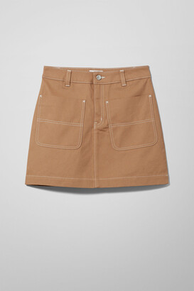 Weekday Lemon Twill Skirt - Beige