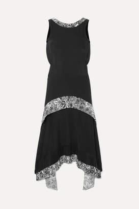 J.W.Anderson Asymmetric Draped Silk Midi Dress - Black