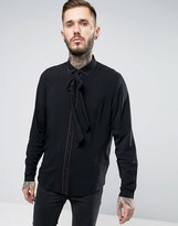 Asos Regular Fit Shirt In Black Viscose With Piping And Detachable Neck Scarf