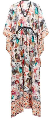 Tropez Mary Mare - St. Shell-print Silk Kaftan - Womens - Multi