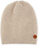 Inverni Cashmere Crochet Beanie Hat, Beige