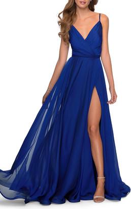 La Femme V-Neck Long Chiffon Dress with High Slit
