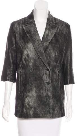 Alexander Wang Leather-Accented Distressed Coat