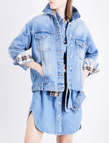 Sjyp Embroidered-sleeve denim jacket