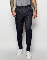 Asos Smart Pants With Pleats and Side Zip in Navy