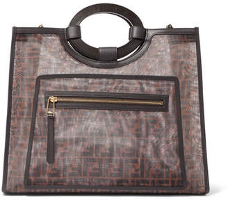 Fendi Runaway Medium Leather-trimmed Printed Mesh Tote - Black