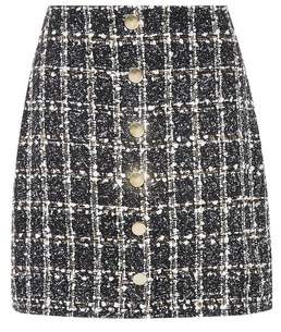 Dorothy Perkins Womens Black Boucle Button Mini Skirt, Black