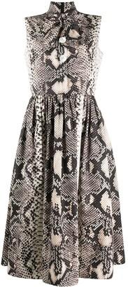 Prada Snakeskin Print Pleated Dress