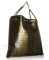 bronze woven leather shoulder bag