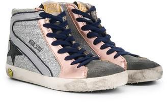 Golden Goose Kids Distressed High Top Sneakers