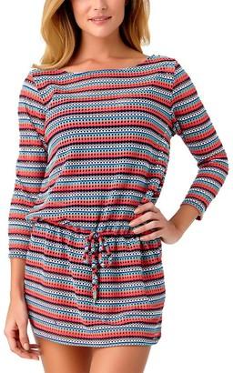 Anne Cole Women's Multi Color Crochet Boat Neck Cover