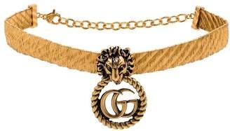 Gucci Lion head gold-plated GG logo choker