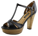 Kay Unger Garliste Open Toe Leather Platform Heel.