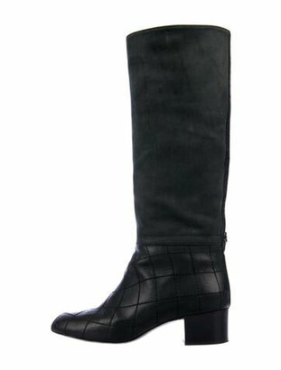 Chanel 2013 Interlocking CC Logo Riding Boots Black