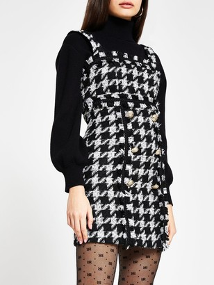 River Island Dobby Frill Mini Tea Dress - Black
