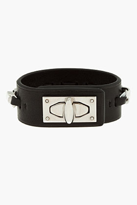 Givenchy Black Leather Sharktooth Chain Bracelet